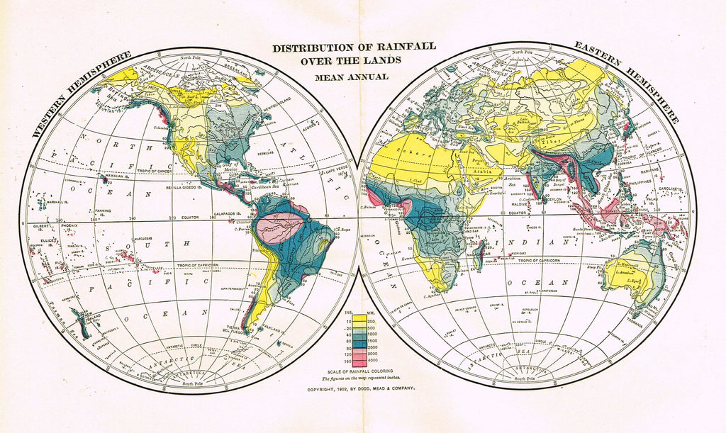 "Dodd Mead's Universal Atlas - ""DISTRIBUTION OF RAINFALL OVER THE LANDS"" - Chromolithograph - 1906"