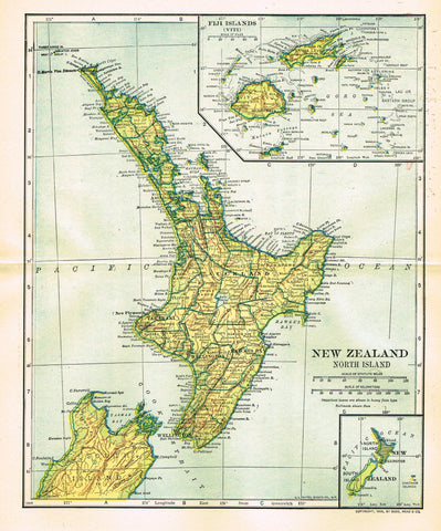 "Dodd Mead's Universal Atlas - ""NEW ZEALAND - NORTH ISLANDS"" - Chromolithograph - 1906"