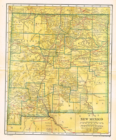 "Dodd Mead's Universal Atlas - ""NEW MEXICO"" - Chromolithograph - 1906"
