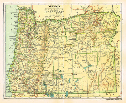 "Dodd Mead's Universal Atlas - ""OREGON"" - Chromolithograph - 1906"