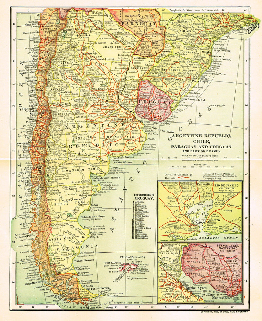 "Dodd Mead's Atlas - ""ARGENTINE REPUBLIC, CHILE, PARAGUAY & URUGUAY"" - Chromo - 1906"