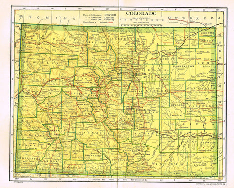 "Dodd Mead's Universal Atlas - ""COLORADO"" - Chromolithograph - 1906"