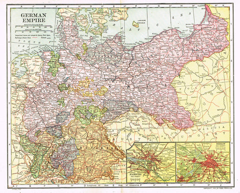 "Dodd Mead's Universal Atlas - ""GERMAN EMPIRE"" - Chromolithograph - 1906"