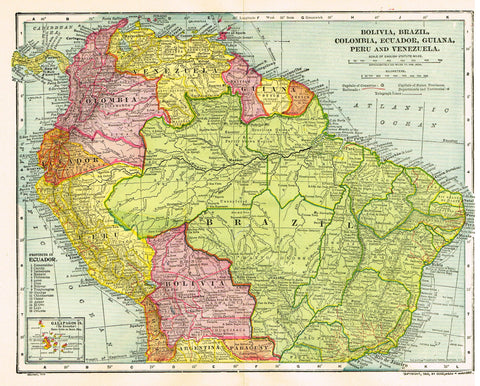 "Dodd Mead's Atlas - ""BOLIVIA, BRAZIL, COLUMBIA, EQUADOR, GUIDA.... "" - Chromo - 1906"