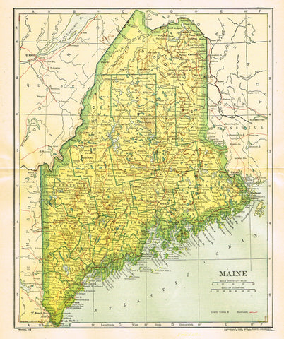 "Dodd Mead's Universal Atlas - ""MAINE"" - Chromolithograph - 1906"