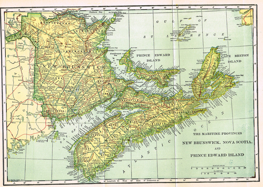 "Dodd Mead's Universal Atlas - ""THE MARITIME PROVINCES"" - Chromolithograph - 1906"
