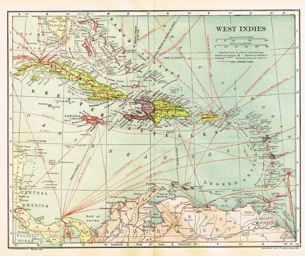 "Dodd Mead's Universal Atlas - ""WEST INDIES"" - Chromolithograph - 1906"