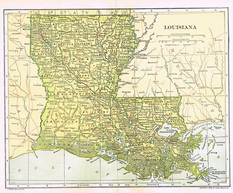 "Dodd Mead's Universal Atlas - ""LOUISIANA"" - Chromolithograph - 1906"