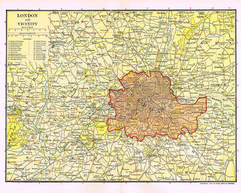 "Dodd Mead's Universal Atlas - ""LONDON AND VICINITY"" - Chromolithograph - 1906"