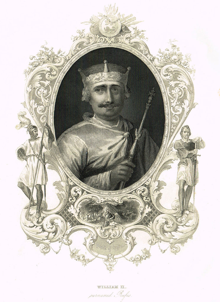"Elaborate Scrollwork Royal Portrait - ""WILLIAM II, (RUFUS)"" - Steel Engraving - c1840"