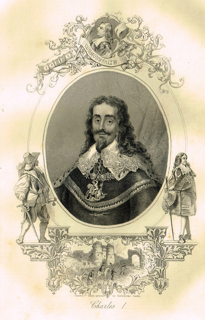 "Elaborate Scrollwork Royal Portrait - ""CHARLES I"" - Steel Engraving - c1840"