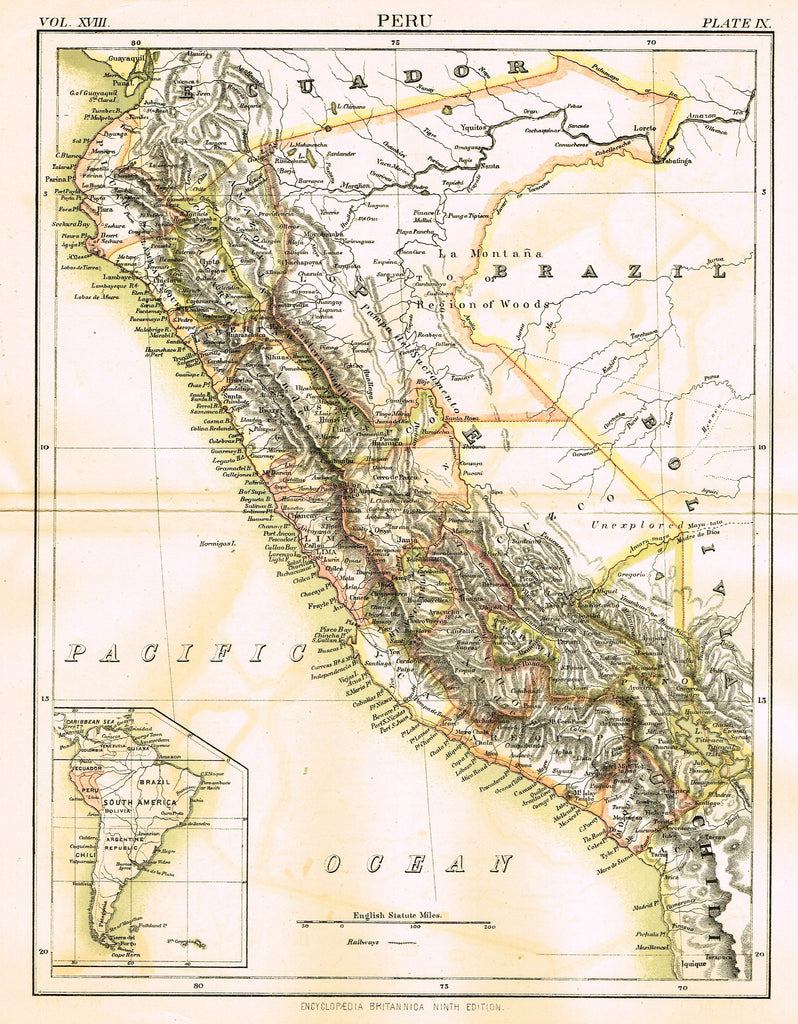 "Misc. Antique Map - ""PERU"" from Encyclopedia Britannica - Ninth Edition - Chromolithogrpaph - 1889"