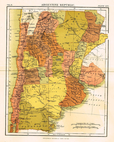 "Misc. Antique Map - ""ARGENTINE REPUBLIC"" from Encyclopedia - Ninth Edition - Chromo - 1889"