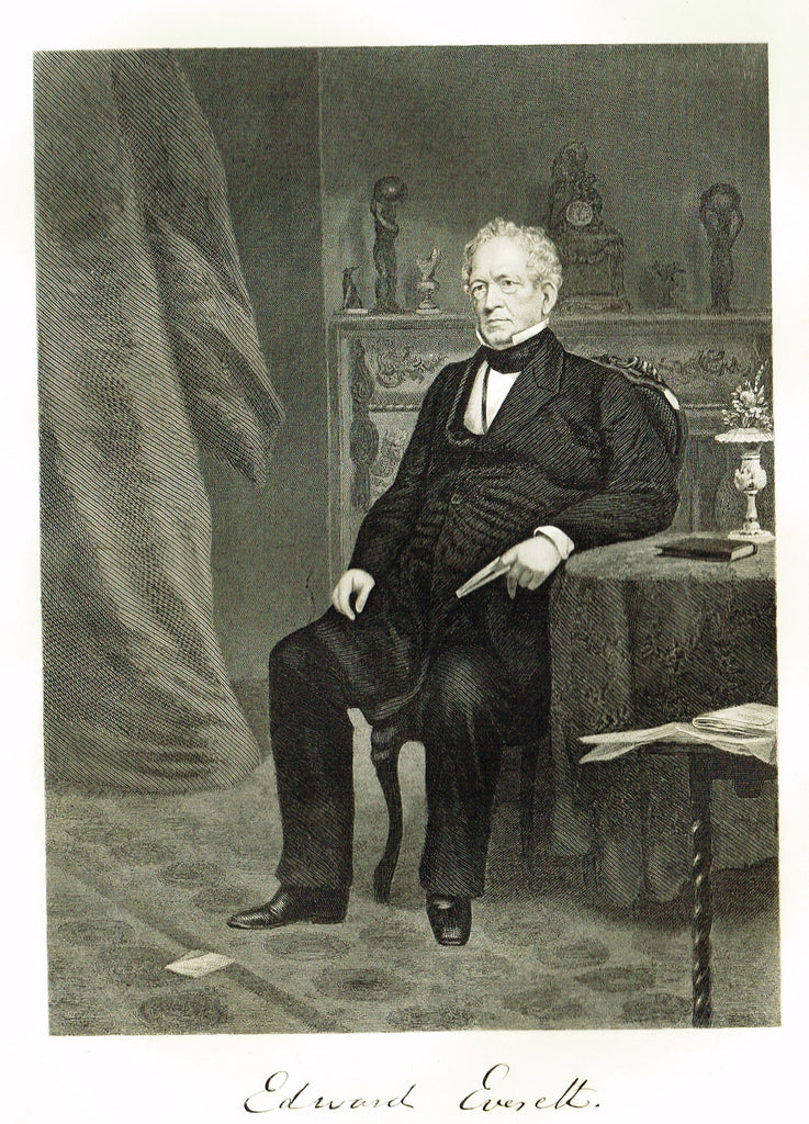 "Duyckinck's National Portrait Gallery - ""EDWARD EVERETT"" - Steel Enraving - 1862"