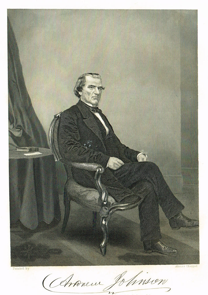 "Duyckinck's National Portrait Gallery - ""ANDREW JOHNSON"" - Steel Enraving - 1862"