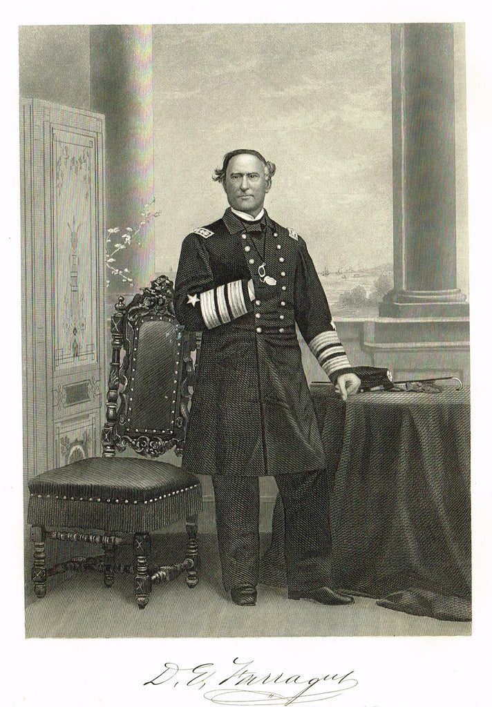 "Duyckinck's National Portrait Gallery (Military) - ""D.E. FARRAGUT (2)"" - Steel Engraving - 1862"