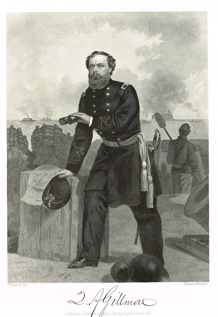 "Duyckinck's National Portrait Gallery (Military) - ""QUINCY ADAMS GILLMORE"" - Steel Enraving - 1862"