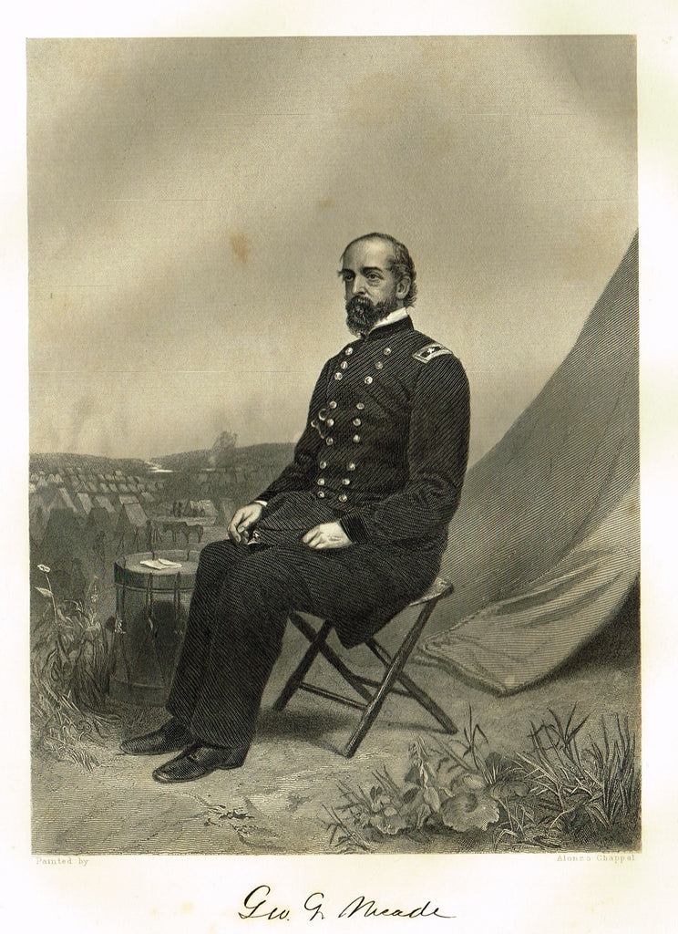 "Duyckinck's National Portrait Gallery (Military) - ""GEORGE MEADE"" - Steel Engraving - 1862"