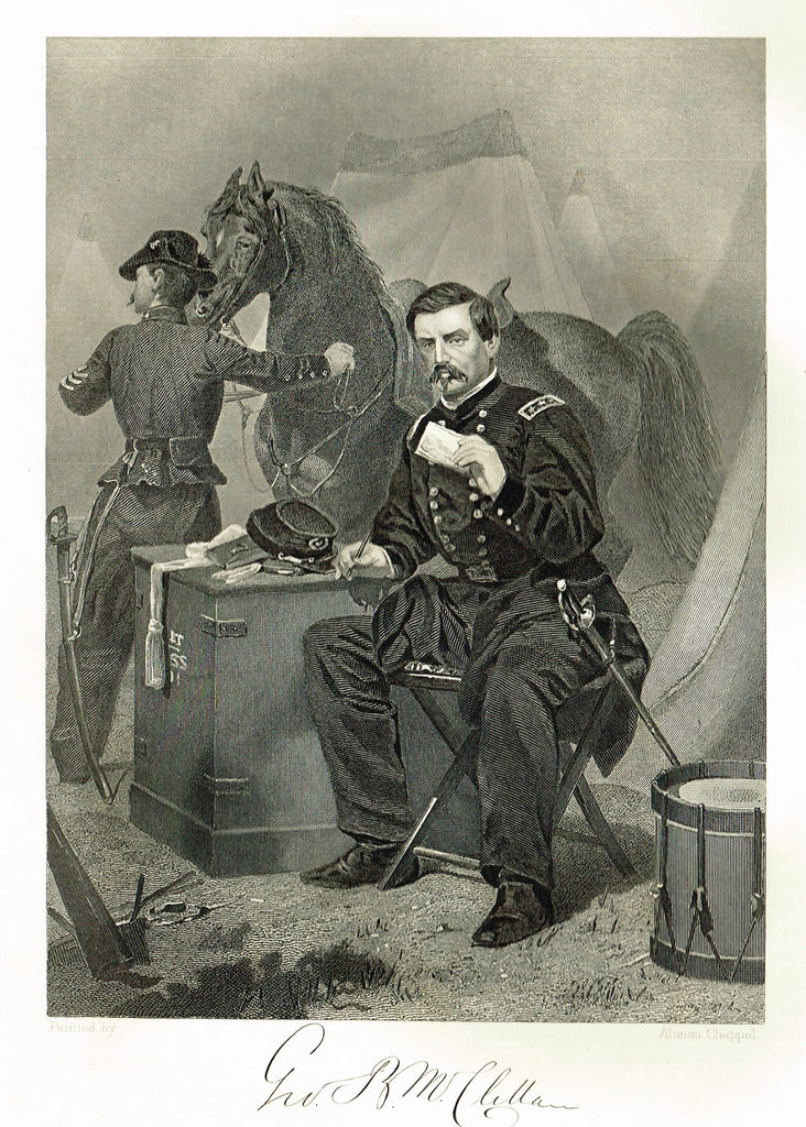 "Duyckinck's National Portrait Gallery (Military) - ""GEORGE MCLENNAN"" - Steel Engraving - 1862"