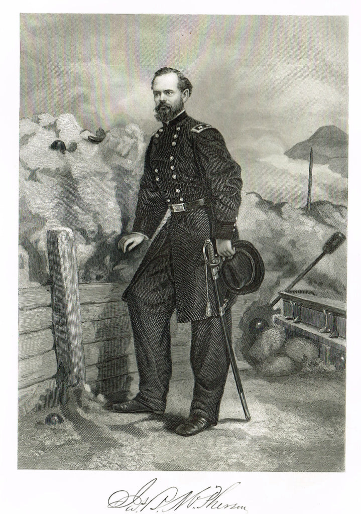 "Duyckinck's National Portrait Gallery (Military) - ""JAMES MCPHERSON"" - Steel Engraving - 1862"