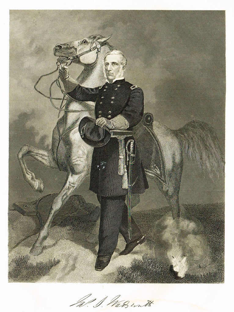 "Duyckinck's National Portrait Gallery (Military) - ""GENERAL WADSWORTH"" - Steel Engraving - 1862"
