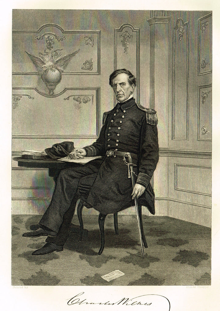 "Duyckinck's National Portrait Gallery (Military) - ""CHARLES WILKES"" - Steel Engraving - 1862"