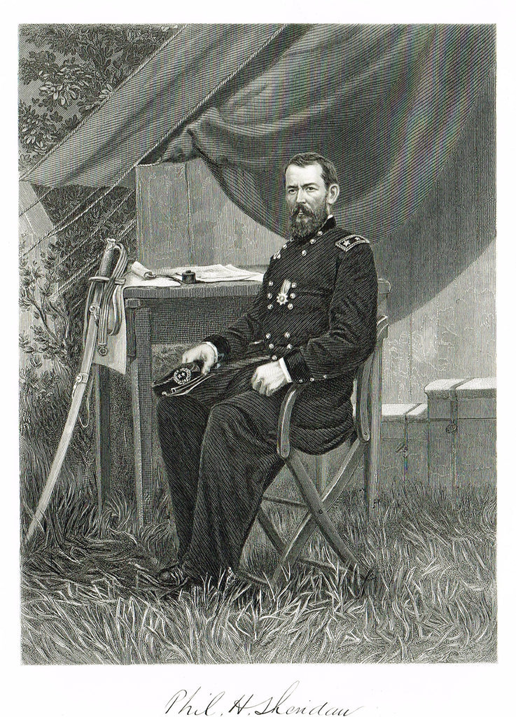"Duyckinck's National Portrait Gallery (Military) - ""PHILIP SHERIDAN"" - Steel Engraving - 1862"