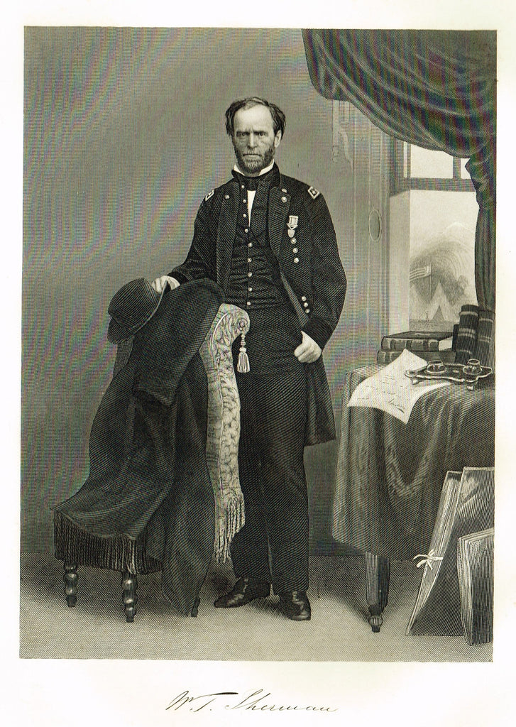 "Duyckinck's National Portrait Gallery (Military) - ""W.T.SHERMAN"" - Steel Engraving - 1862"
