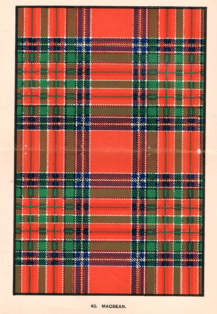 "Johnston's Scottish Tartans - ""MACBEAN"" - Chromolithograph - c1890"