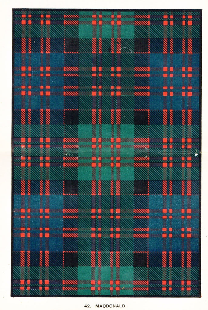 "Johnston's Scottish Tartans - ""MACDONALD"" - Chromolithograph - c1890"