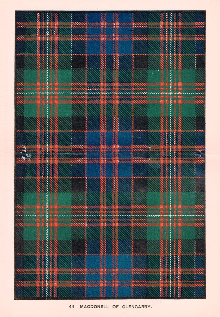 "Johnston's Scottish Tartans - ""MACDONELL OF GLENGARRY"" - Chromolithograph - c1890"