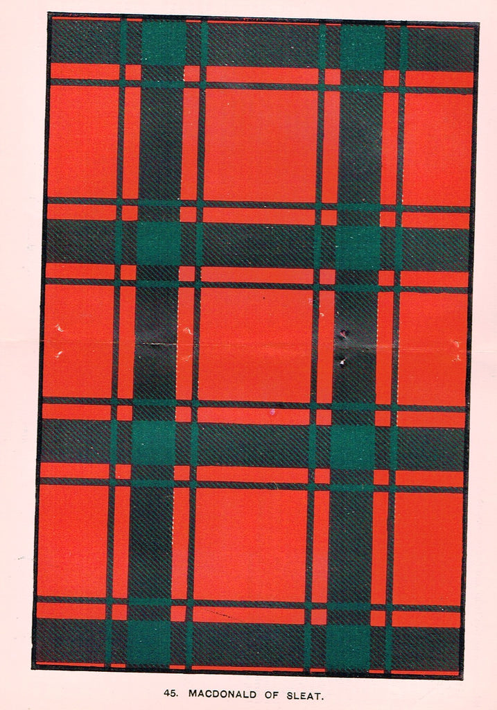 "Johnston's Scottish Tartans - ""MACDONALD OF SLEAT"" - Chromolithograph - c1890"