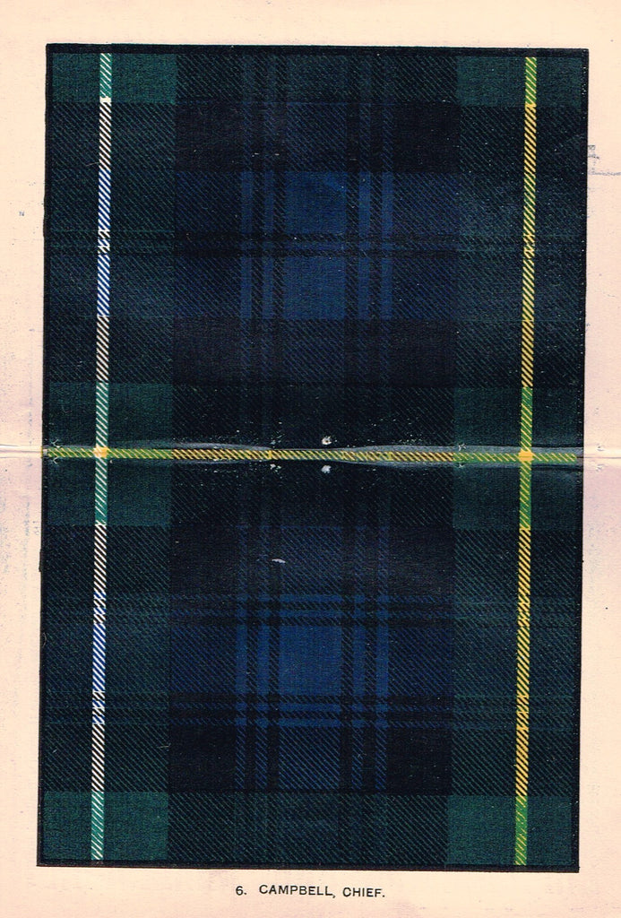 "Johnston's Scottish Tartans - ""CAMPBELL, CHIEF"" - Chromolithograph - c1890"