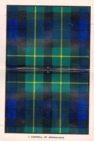 "Johnston's Scottish Tartans - ""CAMPBELL OF BREADALBANE"" - Chromolithograph - c1890"