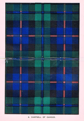 "Johnston's Scottish Tartans - ""CAMPBELL OF CAWDOR"" - Chromolithograph - c1890"