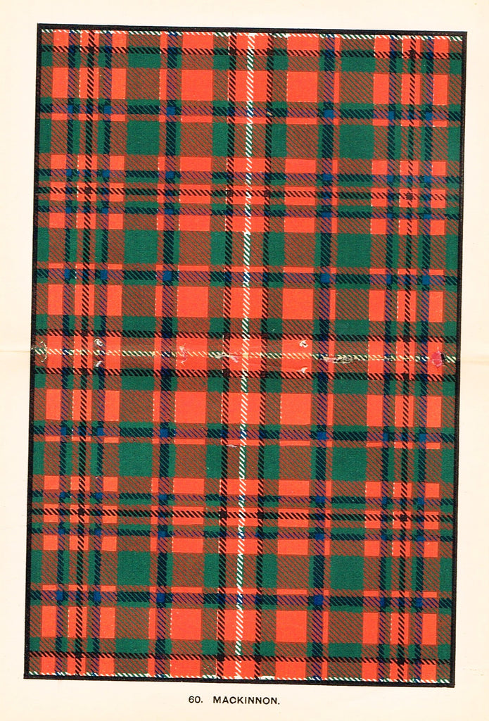 "Johnston's Scottish Tartans - ""MACKINNON"" - Chromolithograph - c1890"