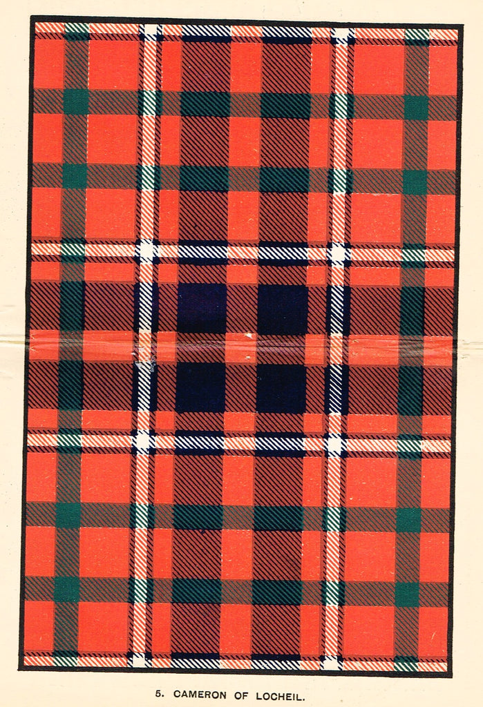 "Johnston's Scottish Tartans - ""CAMERON OF LOCHEIL"" - Chromolithograph - c1890"