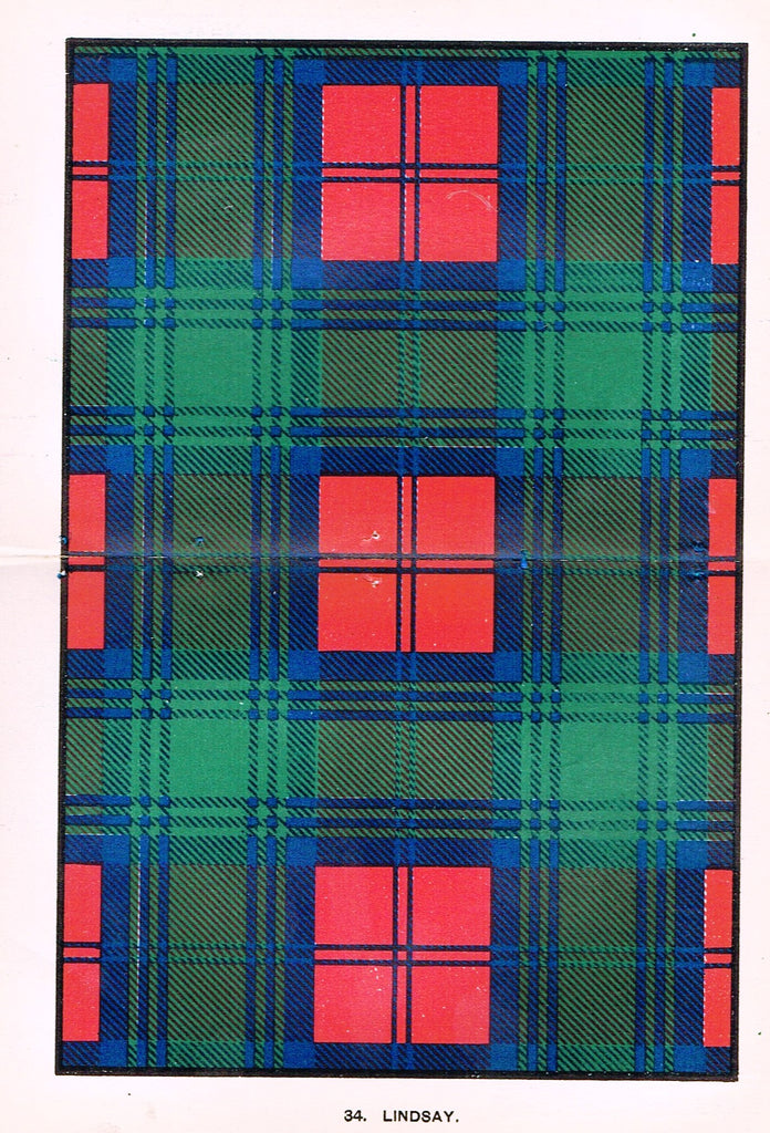 "Johnston's Scottish Tartans - ""LINDSAY"" - Chromolithograph - c1890"