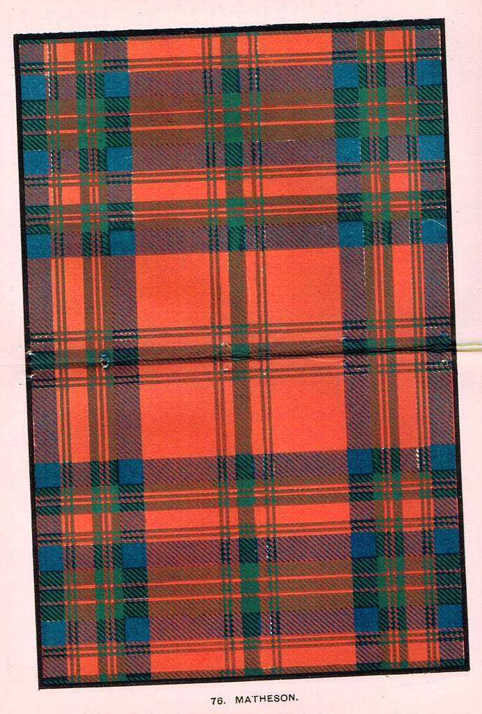 "Johnston's Scottish Tartans - ""MATHESON"" - Chromolithograph - c1890"