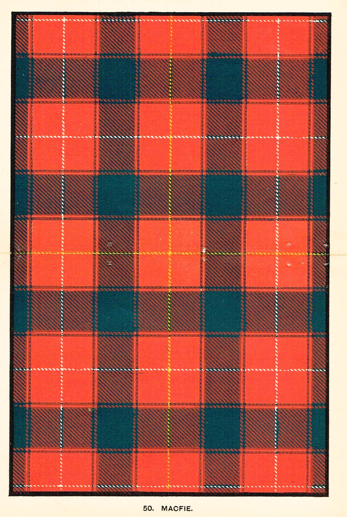 "Johnston's Scottish Tartans - ""MACFIE"" - Chromolithograph - c1890"