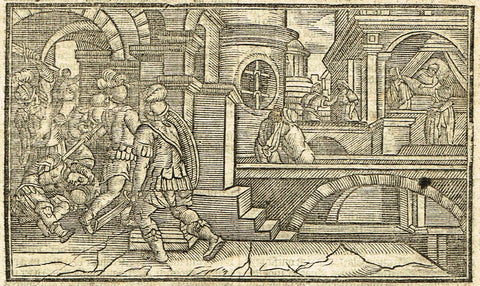 "Dutch Bible Print - ""JUDAS"" - Woodcut - 1636"