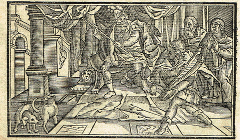 "Dutch Bible Print - ""SAUL TRIES TO KILL DAVID"" - Woodcut - 1636"