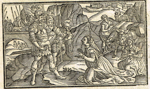 "Dutch Bible Print - ""DAVID AND ABIIGAIL"" - Woodcut - 1636"