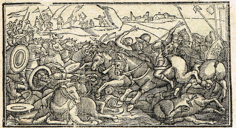 "Dutch Bible Print - ""BATTLE WITH HORSES"" - Woodcut - 1636"