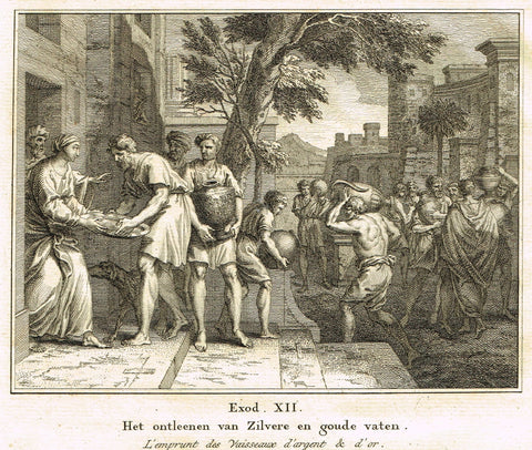 "Antique Bible Print by Fokke - ""SILVER & GOLD VESSELS"" - Exodus 12 - Copper Engraving - 1748"