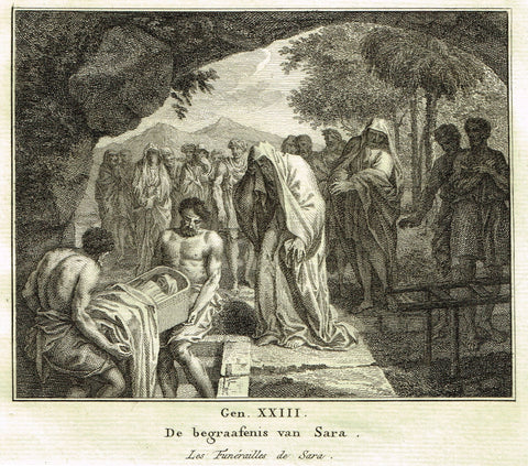"Antique Bible Print by Fokke - ""FUNERAL OF SARA"" - Genesis 34 - Copper Engraving - 1748"