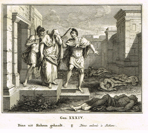 "Antique Bible Print by Fokke - ""DINA FROM SICHEM"" - Exodus 12 - Copper Engraving - 1748"