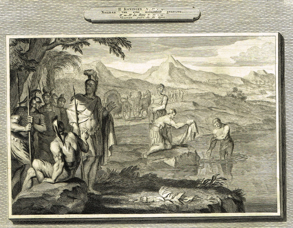 "Antique Bible Print by Mortier - ""NAAMAN OF HIS LEPROCY CURED""  - Copper Engraving - 1700"
