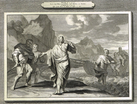 "Antique Bible Print by Mortier - ""JESUS CALLS PETER & ANDREW""  - Copper Engraving - 1700"