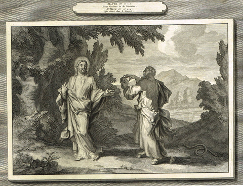 "Antique Bible Print by Mortier - ""JESUS IN THE DESERT""  - Copper Engraving - 1700"